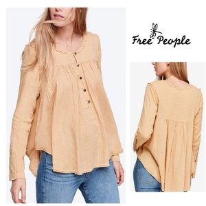 Long Sleeve Top FREE PEOPLE Cotton Raw Seam